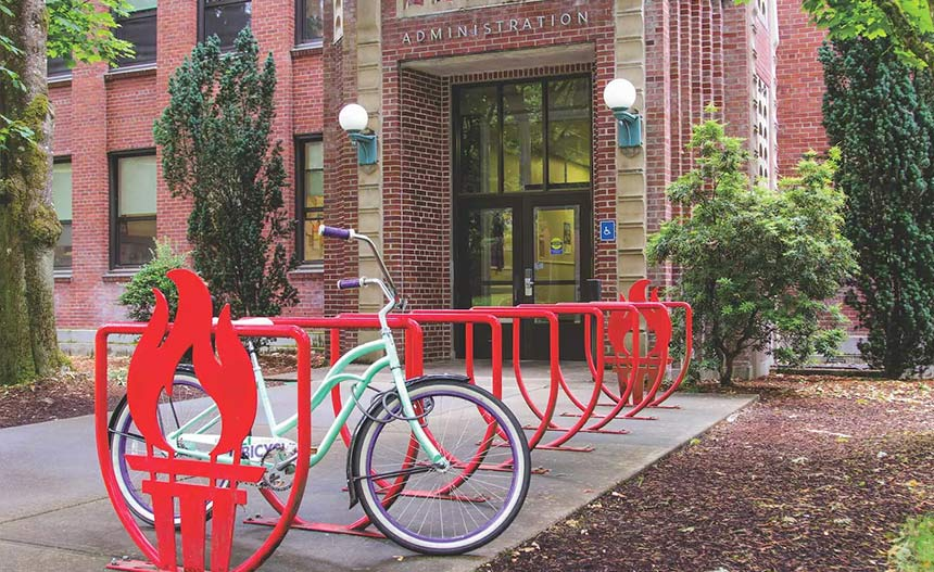 Admin building with WOU bike racks